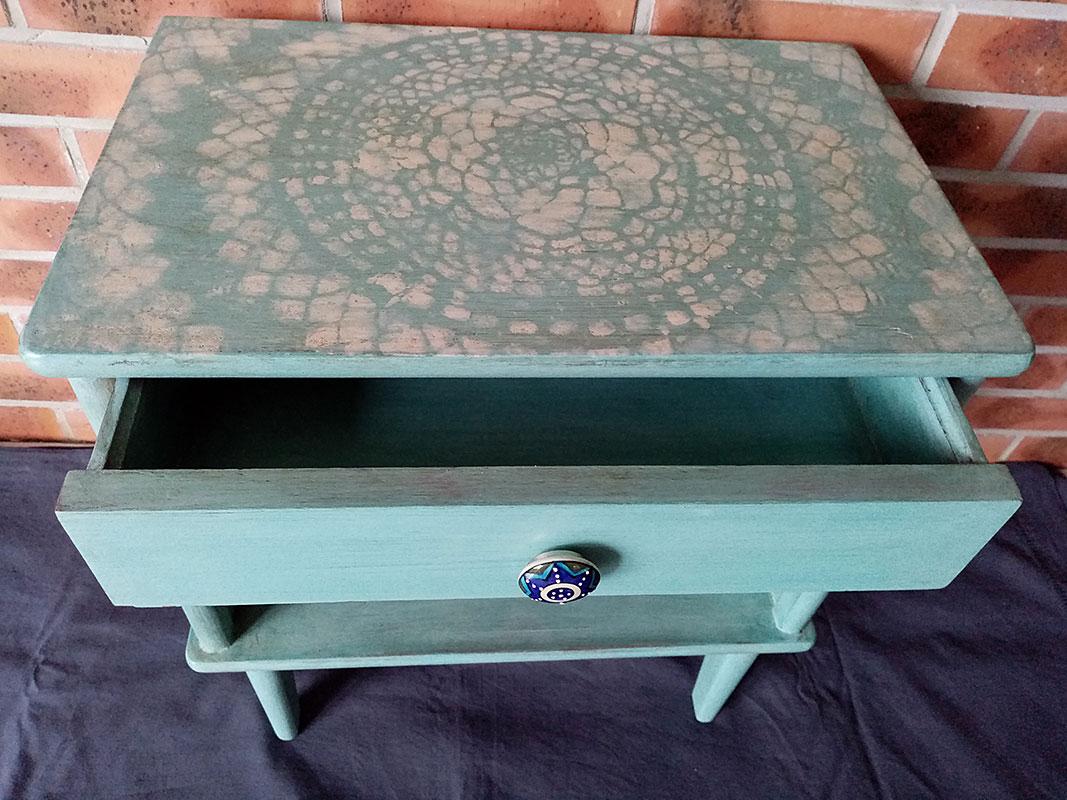 Chevet vintage turquoise par Atelier Yael Céladon 06